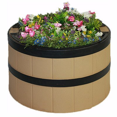 Straw Whisky Barrel with planter
